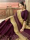 photo of Party Style Art Silk Designer Wine Fancy Saree With Embroidery Work
