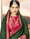 photo of Designer Dark Green Embroidered Party Wear Fancy Saree In Art Silk
