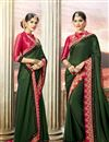 image of Designer Dark Green Embroidered Party Wear Fancy Saree In Art Silk