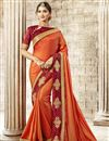 image of Party Wear Art Silk Fancy Orange Designer Saree With Embroidery
