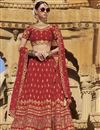 image of Embroidered Wedding Wear Raw Silk Fabric Lehenga In Red