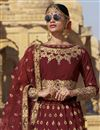 photo of Embroidered Maroon Designer Lehengas In Raw Silk Fabric With Beautiful Blouse