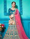 image of Sky Blue Satin Silk Fabric Occasion Wear Lehenga Choli With Embroidery Work