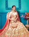photo of Embroidered Satin Silk Fabric Party Wear Lehenga In Beige With Ravishing Blouse