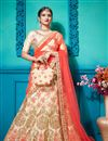 image of Embroidered Satin Silk Fabric Party Wear Lehenga In Beige With Ravishing Blouse