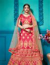 image of Pink Satin Silk Fabric Festive Wear Embroidered Chaniya Choli With Beautiful Blouse