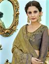 photo of Designer Saree In Green Fancy Fabric With Embroidery Work And Party Wear Blouse