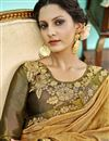 photo of Embroidered Golden Wedding Wear Saree In Fancy Fabric With Designer Blouse