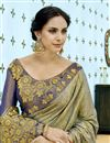 photo of Fancy Fabric Party Wear Saree In Dark Khaki With Embroidery Work And Blouse