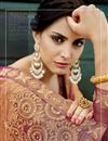 photo of Designer Party Wear Saree In Orange Color Fancy Fabric With Embroidery Work And Stylish Blouse