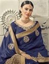 photo of Art Silk Traditional Navy Blue Saree For Function With Embroidered Blouse