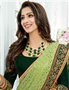 photo of Crepe Fabric Designer Saree In Green With Embroidery Designs And Attractive Blouse