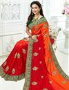 photo of Red Designer Embroidered Saree In Crepe Fabric With Attractive Blouse
