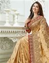 photo of Eid Special Function Wear Cream Embroidery Work On Saree In Art Silk Fabric With Alluring Blouse