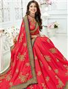 photo of Embroidery Designs On Crimson Art Silk Fabric Party Wear Saree With Mesmerizing Blouse