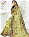 photo of Embroidery Designs On Crepe Fabric Khaki Party Wear Saree With Designer Blouse