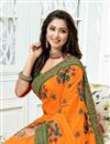 photo of Embroidery Designs On Orange Occasion Wear Saree In Art Silk Fabric With Enticing Blouse