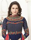 photo of Mesmeric Navy Blue Embroiderd Georgette Designer Gown Style Anarkali Salwar Suit