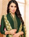 photo of Embroidery Work On Dark Green Art Silk Fabric Party Wear Straight Cut Salwar Suit
