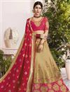 image of Eid Special Fancy Wedding Function Wear Beige Jacquard Silk Fabric Embroidered Lehenga Choli