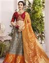 image of Eid Special Designer Function Wear Grey Fancy Embellished Lehenga In Jacquard Silk Fabric