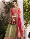 image of Sea Green Sangeet Wear Designer Jacquard Silk Fabric Embroidered Lehenga Choli
