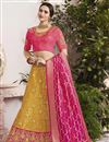 image of Eid Special Wedding Wear Fancy Yellow Designer Embellished Lehenga In Jacquard Silk Fabric