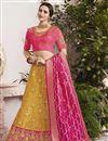 image of Designer Wedding Wear Yellow Embellished Jacquard Silk Fabric Fancy Lehenga