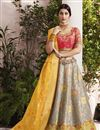 image of Fancy Wedding Function Wear Grey Jacquard Silk Fabric Embroidered Lehenga Choli