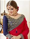 photo of Art Silk Red Designer Party Style Plain Saree With Fancy Embroidered Blouse