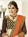 photo of Designer Party Wear Orange Art Silk Plain Saree With Embroidered Blouse