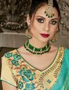 photo of Designer Party Wear Cyan Georgette Plain Saree With Embroidered Blouse