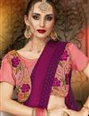 photo of Georgette Designer Party Wear Purple Plain Saree With Fancy Blouse