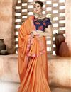 image of Chiffon Designer Party Wear Plain Saree In Orange With Fancy Blouse