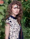 photo of Net Fabric Navy Blue Color Festive Wear Gown With Embroidery Work