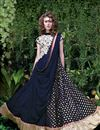 image of Net Fabric Navy Blue Color Festive Wear Gown With Embroidery Work