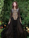 image of Embroidery Designs On Net Fabric Party Wear Gown In Black Color