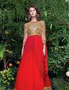 image of Red Designer Embroidered Gown In Net Fabric
