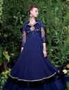 image of Georgette Fabric Party Wear Gown In Navy Blue With Embroidery Work