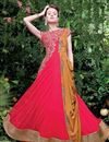 image of Crimson Net Fabric Function Wear Embroidered Gown