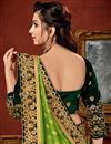 photo of Art Silk Fabric Green Wedding Wear Saree With Embroidery Work And Gorgeous Blouse