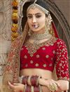 photo of Red Color Wedding Wear Embroidered Designer Art Silk Lehenga Choli