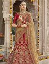 image of Red Color Wedding Wear Embroidered Designer Art Silk Lehenga Choli