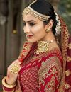 photo of Red Color Wedding Wear Embroidered Designer Art Silk Lehenga Choli