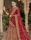 image of Wedding Function Wear Art Silk Lehenga Choli In Red With Embroidery