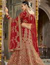 photo of Art Silk Designer Wedding Wear Red Color Lehenga With Embroidery Work