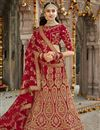 image of Art Silk Designer Wedding Wear Red Color Lehenga With Embroidery Work
