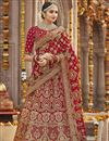 image of Art Silk Wedding Function Wear Red Color Lehenga Choli With Embroidery