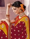 photo of Bandhej Print On Traditional Function Wear Chiffon Saree In Orange