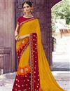 image of Designer Yellow Chiffon Traditional Sangeet Wear Bandhani Print Saree